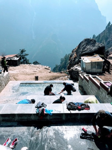 Washing in Namche Bazar.