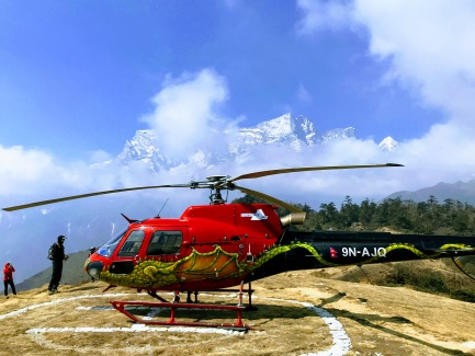 A helicopter landing near Khumjung